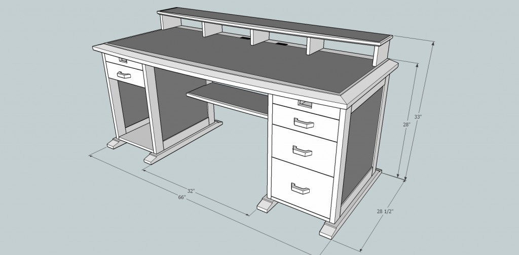 Ultimate computer desk diary of a wood nerd for Table design sketchup