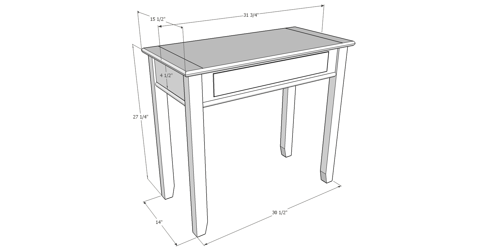 Hall table in ambrosia maple diary of a wood nerd for Table design sketchup