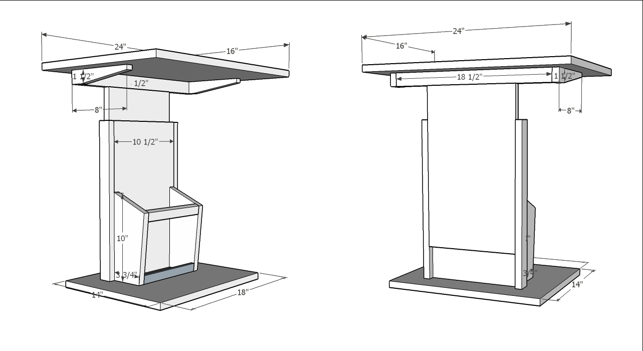 Snack table design diary of a wood nerd for Table design sketchup